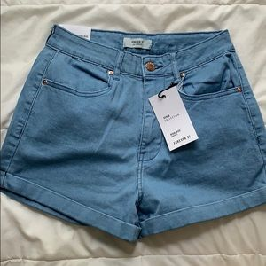 forever 21 blue high waisted denim shorts